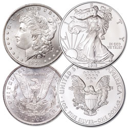 1896 Morgan Silver Dollar with 2018 American Silver Eagle