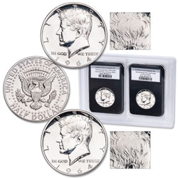 1964 Silver and Accented Hair Variety Kennedy Half Dollar Set
