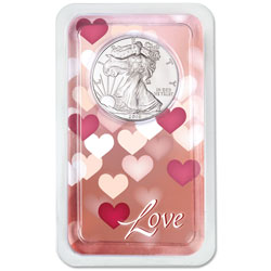 2019 Silver American Eagle in Love Showpak