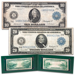 Series 1914 $10 & $20 Federal Reserve Note Set