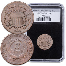 1871 Two-Cent Piece in Deluxe Holder