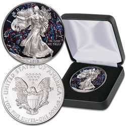 2019 Colorized Patriotic Fireworks Silver American Eagle