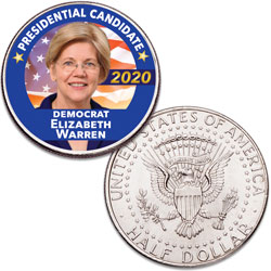 Colorized Elizabeth Warren Presidential Candidate Coin