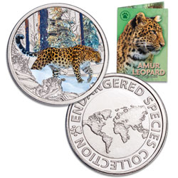 Endangered Species Silver-Plated Round with Folder - Amur Leopard