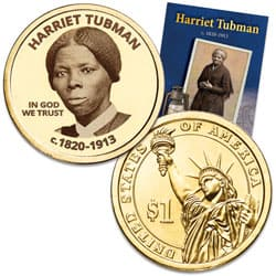 "Prominent Women ""Golden"" Colorized Presidential Dollar - Harriet Tubman"
