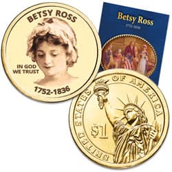 "Prominent Women ""Golden"" Colorized Presidential Dollar - Betsy Ross"
