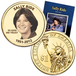 "Prominent Women ""Golden"" Colorized Presidential Dollar - Sally Ride"