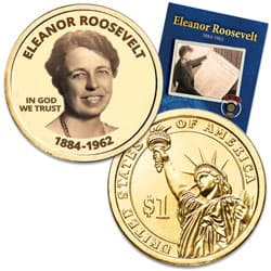 "Prominent Women ""Golden"" Colorized Presidential Dollar - Eleanor Roosevelt"