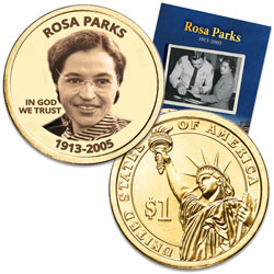 "Prominent Women ""Golden"" Colorized Presidential Dollar - Rosa Parks"