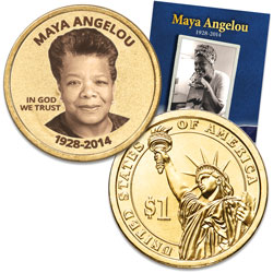 "Prominent Women ""Golden"" Colorized Presidential Dollar - Maya Angelou"