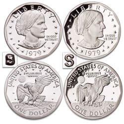 1979-S Type 1 & 2 (Filled & Clear) Susan B. Anthony Dollar Set