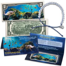 Colorized $2 Federal Reserve Note - Coral Reef with 4ocean Bracelet