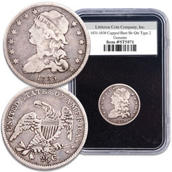 1831-1838 Type 2 Capped Bust Silver Quarter with Deluxe Holder and Box