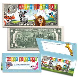 Colorized Happy Birthday $2 Note - Youth