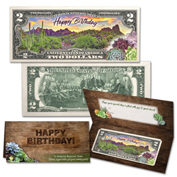 Colorized Happy Birthday $2 Note - Adult