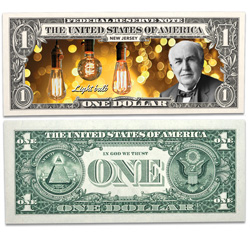 Colorized U.S. Innovation $1 Federal Reserve Note - New Jersey