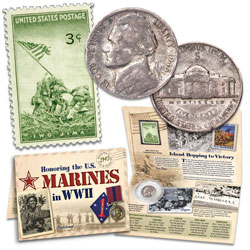 1945 Jefferson Wartime Nickel Coin & Stamp Set