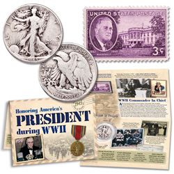 1945 WWII Liberty Walking Half Dollar & Stamp Set