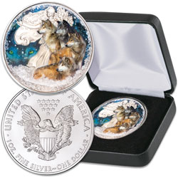 2020 Colorized Winter Wolves Silver American Eagle