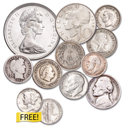 Classic U.S. & World Silver Coins with FREE Mercury Dime