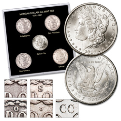 Morgan Silver Dollar All-Mint Set in Custom Holder