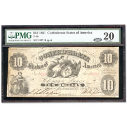 1861 $10 Confederate Note