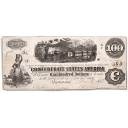 1862 $100 Confederate Note