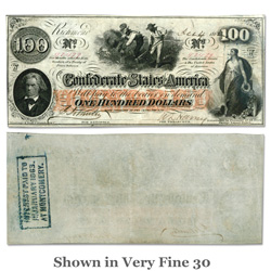 1862-1863 $100 Confederate Note