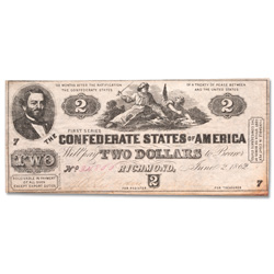 1862 $2 Confederate Note