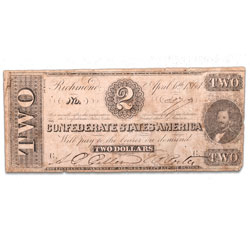 1863 $2 Confederate Note