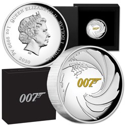 2020 Tuvalu Silver $1 James Bond High Relief