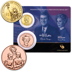 2016 Ronald Reagan Presidential Dollar & Spouse Medal Set