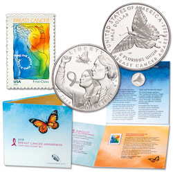 2018-S Breast Cancer Awareness Coin and Stamp Set
