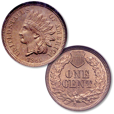 Image for 1861 Indian Head Cent, Variety 2, Copper-Nickel from Littleton Coin Company