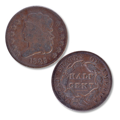 Image for 1828 Classic Head Half Cent, 13 Stars from Littleton Coin Company