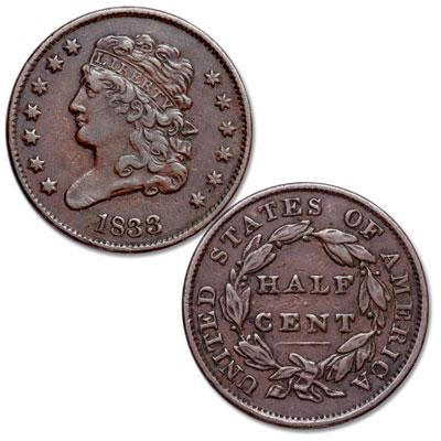 Image for 1833 Classic Head Half Cent from Littleton Coin Company