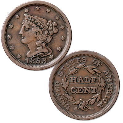 Image for 1853 Braided Hair Half Cent from Littleton Coin Company