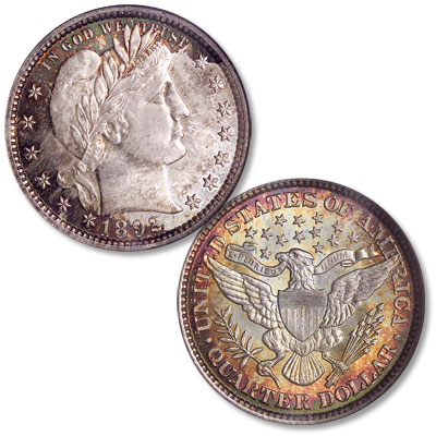 Image for 1892 Barber Silver Quarter from Littleton Coin Company