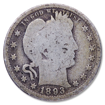 Image for 1893 Barber Silver Quarter from Littleton Coin Company