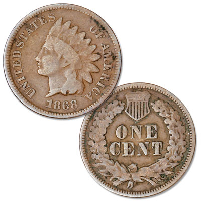 Image for 1868 Indian Head Cent, Variety 3, Bronze from Littleton Coin Company