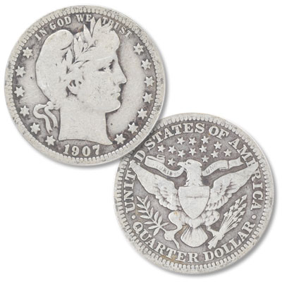Image for 1907 Barber Silver Quarter from Littleton Coin Company