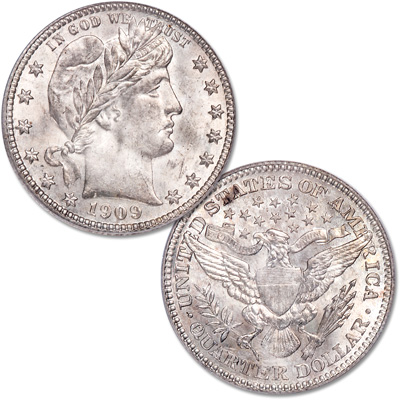 Image for 1909 Barber Silver Quarter from Littleton Coin Company