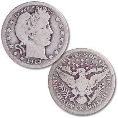 Image for 1914 Barber Silver Quarter from Littleton Coin Company