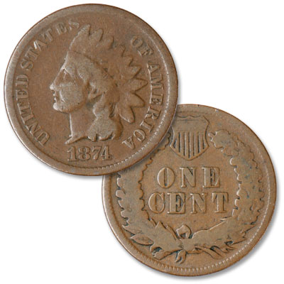 Image for 1874 Indian Head Cent, Variety 3, Bronze from Littleton Coin Company