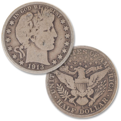 Image for 1913-S Barber Half Dollar from Littleton Coin Company