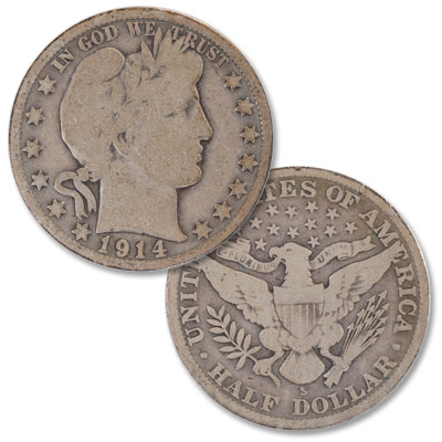 Image for 1914-S Barber Silver Half Dollar from Littleton Coin Company