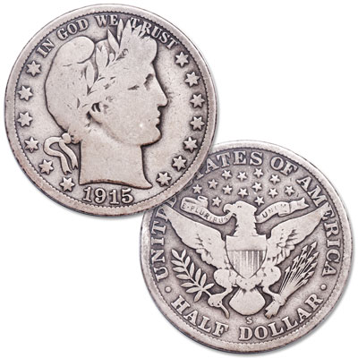 Image for 1915-S Barber Silver Half Dollar from Littleton Coin Company