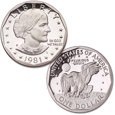 Image for 1981-S Susan B. Anthony Dollar, Clear S from Littleton Coin Company