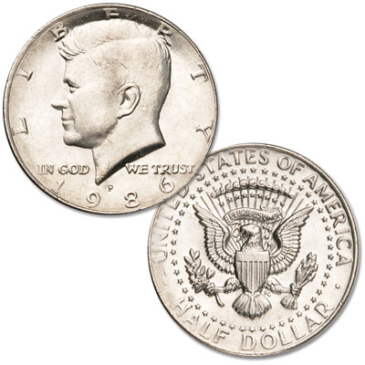 Image for 1986-P Kennedy Half Dollar, Uncirculated, MS60 from Littleton Coin Company