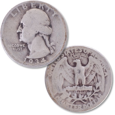 Image for 1934 Washington Silver Quarter, Heavy Motto from Littleton Coin Company